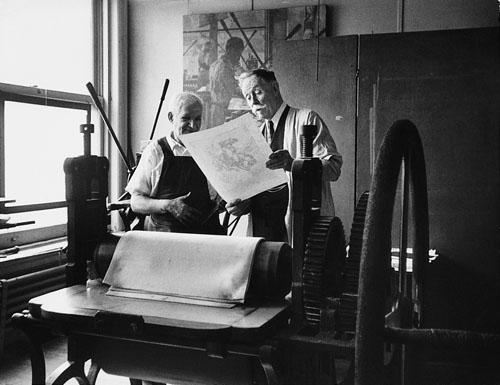 Western painter William R. Leigh and his lithographer, New York, 1948<br/>