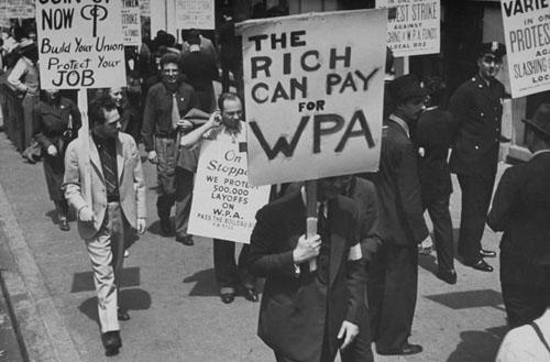 Demonstrators in a Works Progress Administration (WPA) Strike, 1937 (Time Inc.)<br/>