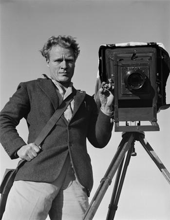 Brett Weston and his 11x14 Camera, Point Dume, February 7, 1948<br/>