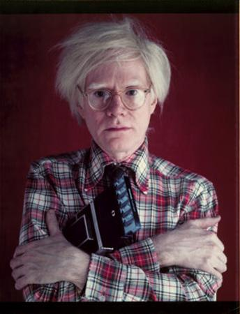 Andy Warhol with Polaroid, 1980<br/>
