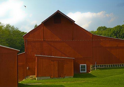 Red Barn 1, with Swallow, Washington, Connecticut, July 28, 2009,  4:37 pm<br/>