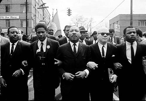 Martin Luther King Marching for Voting Rights with John Lewis, Reverend Jesse Douglas, James Forman and Ralph Abernathy, Selma, 1965<br/>