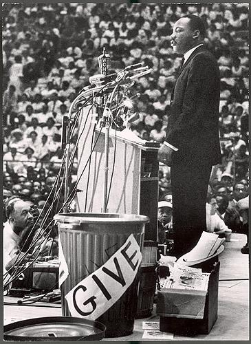 Martin Luther King Jr at a rally in Detroit, 1963 - Photo by Francis Miller<br/>
