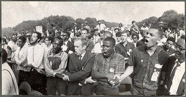 Demonstrators during Civil Rights rally in front of the Washington Monument, 1963 - Photo by Francis Miller<br/>