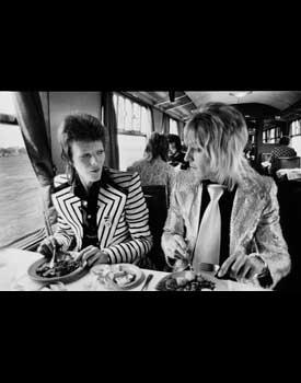 David Bowie and Mick Ronson, British Rail Lunch, 1974<br/>