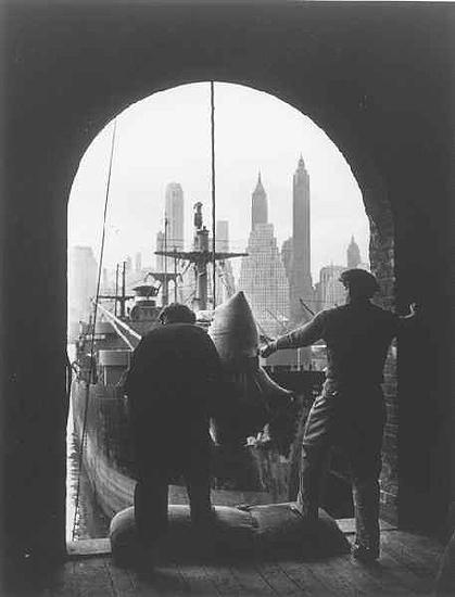 Unloading coffee at Brooklyn dock, New York, c. 1946<br/>