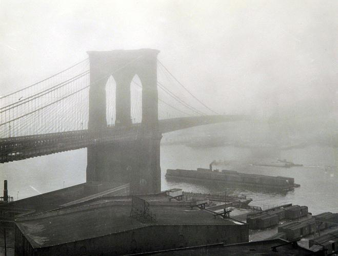 Brooklyn Bridge in the fog, New York, 1948<br/>