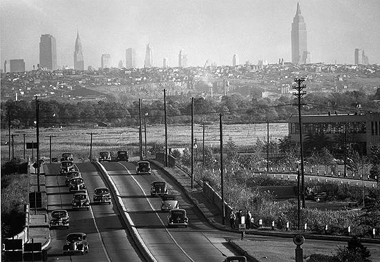 View of New York City skyline from Bendix, NJ, 1940's<br/>