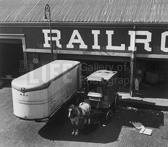 Horse drawn wagon at loading platform, Port of New York, NY, 1949<br/>