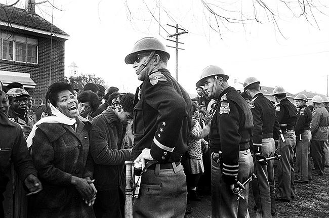 Selma crowd with State Troopers, 1965<br/>