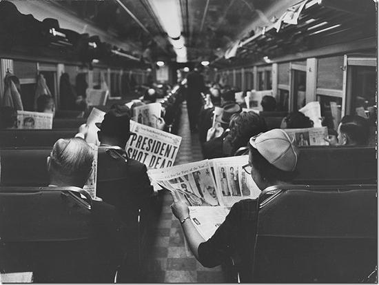 New York Commuters reading of John F. Kennedy;s assassination, 1963<br/>