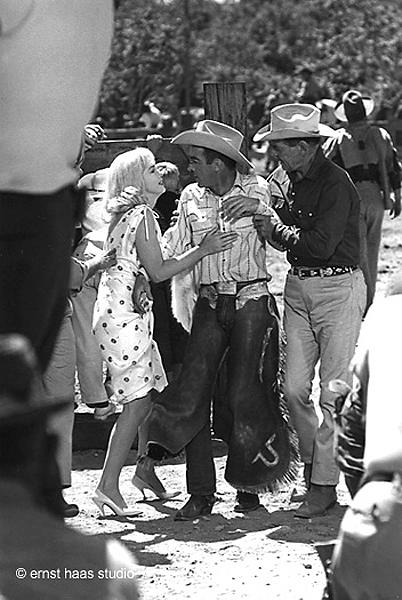 "Marilyn Monroe, Clark Gable, and Montgomery Clift on the set of ""The Misfits"", 1960 Vintage Gelatin Silver Print"