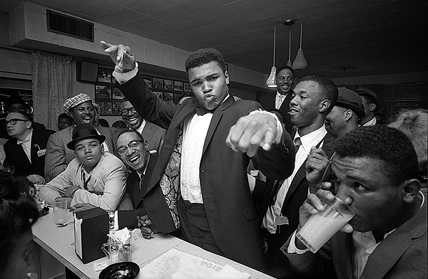 Cassius Clay (Muhammad Ali) victory party after he defeated Sonny Liston for the Heavyweight Championship, February, 1964
