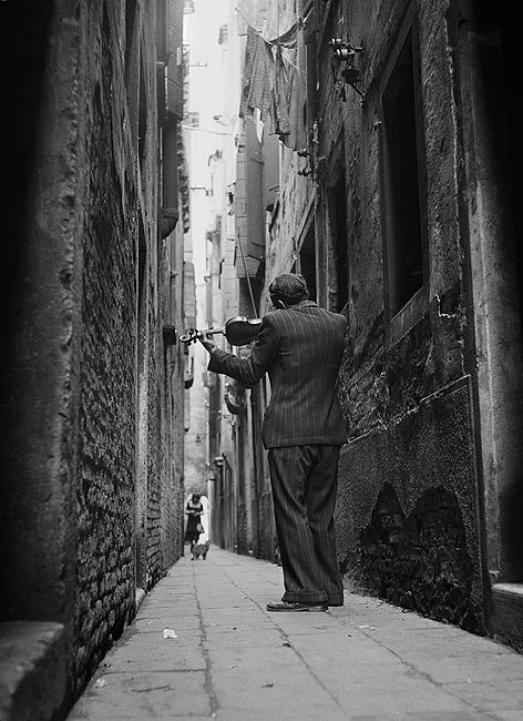 The Violinist, Venice, Italy, 1947 Gelatin Silver print