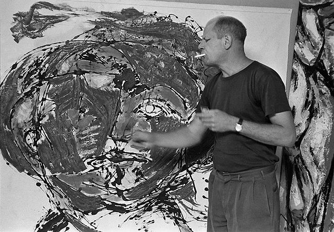 Jackson Pollock painting at his home, East Hampton, 1953 Gelatin Silver print