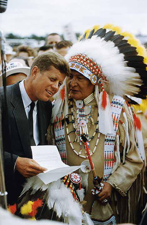 """Two Chiefs""- John F. Kennedy Receives Native American Request, 1960<br/>"