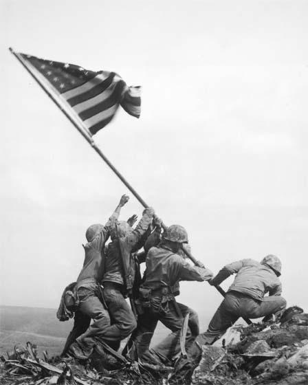 Marines of the 28th Regiment of the 5th Division Raise the American Flag Atop Mt. Suribachi, Iwo Jima, 1945<br/>