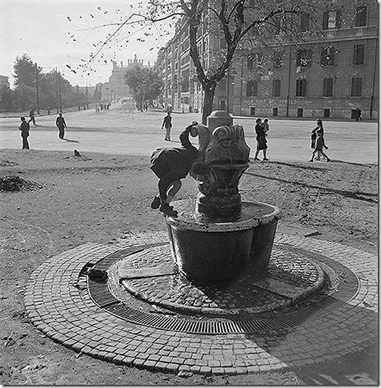 Water fountain in the piazza Santa Croce in Gerusalemme, Italy, 1947 Archival Pigment Print