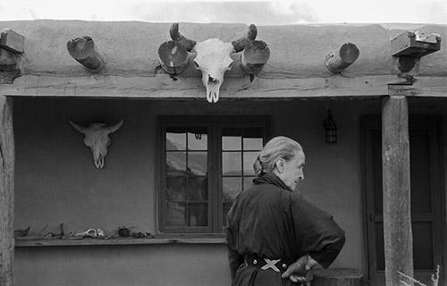 Georgia O'Keeffe and skull, Abiquiu, New Mexico, 1960 Archival Pigment Print