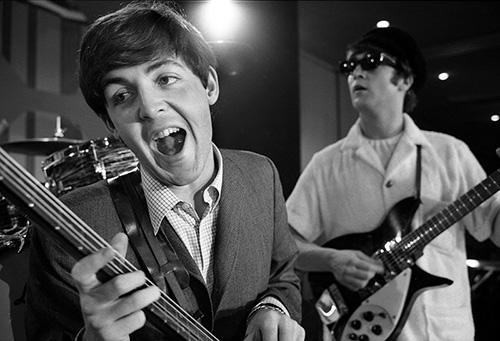 Paul and John rehearsing before the Beatles' Ed Sullivan Show appearance in Miami, 1964 Archival Pigment Print