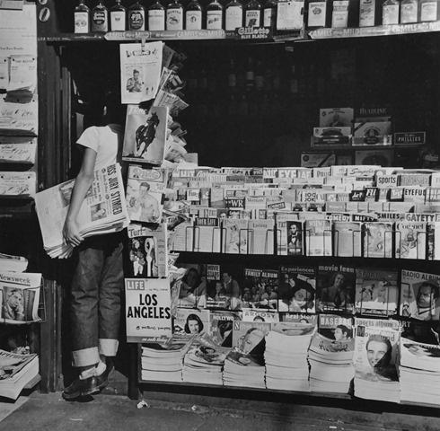 Newsboy at LA Newsstand, Los Angeles,1950<br/>