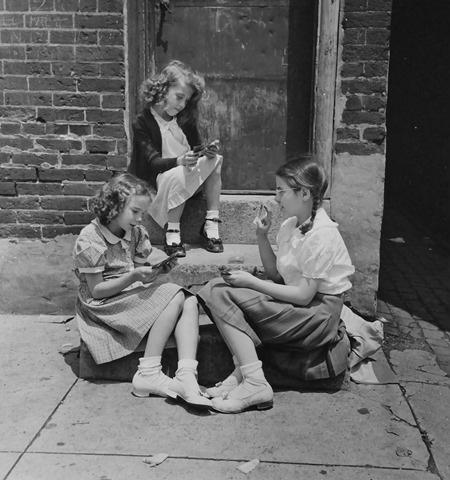 Cardgame on the steps, Philadelphia, PA, 1947<br/>
