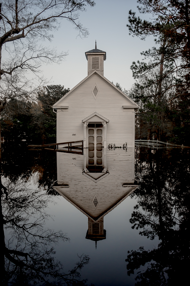 A church flooded by Hurricane Florence stands silently in its reflection in Burgaw, North Carolina, 2018<br/>Please contact Gallery for price