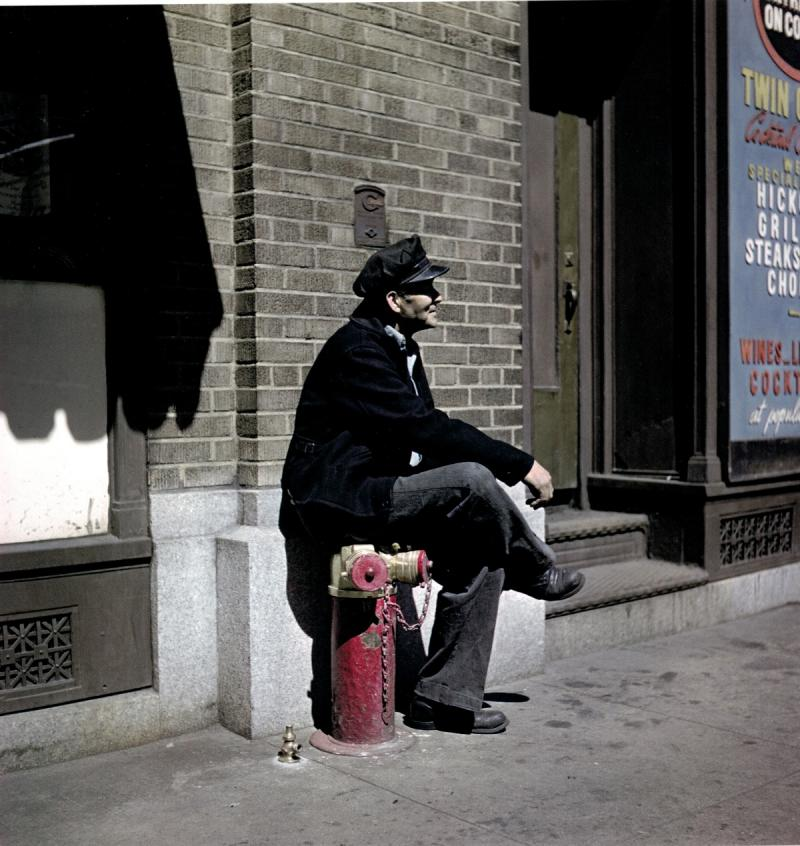 Man on Fire Hydrant, East Harlem, New York, 1947 Archival Pigment Print
