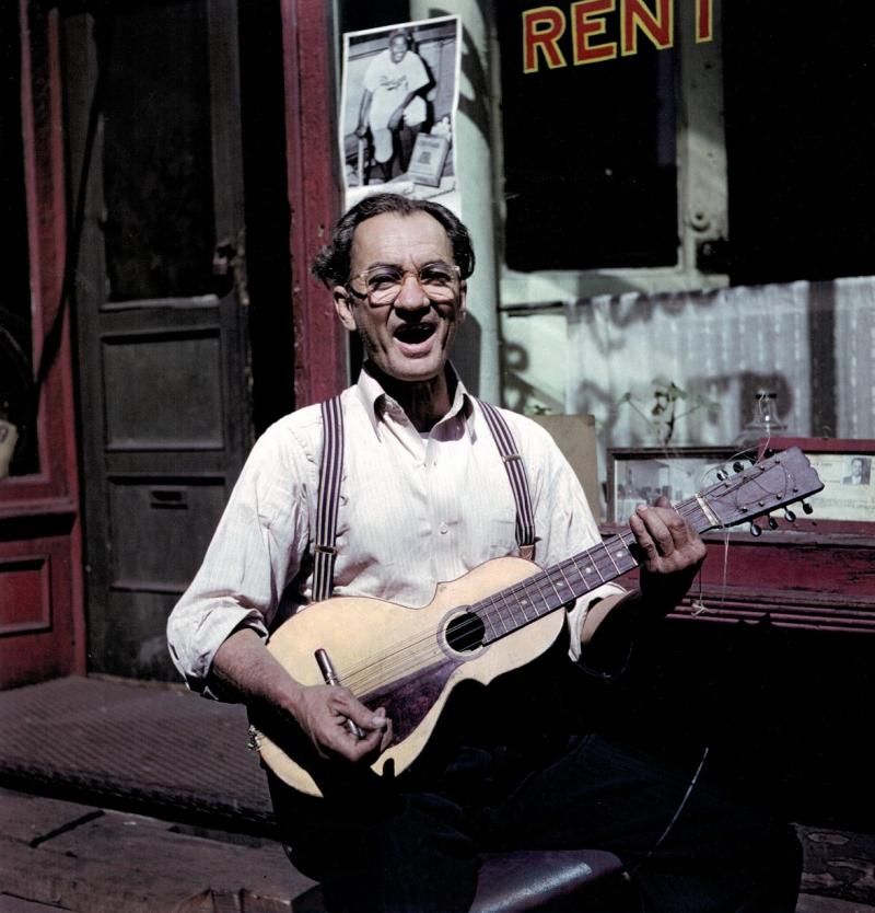 Man with guitar, East Harlem, New York, 1947 Archival Pigment Print