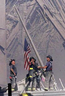 Firefighters at Ground Zero, Sept. 11, 2001<br>© Bergen Record<br/>