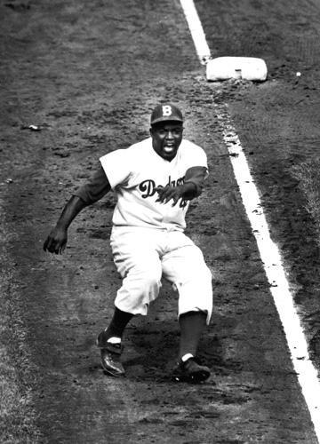 Jackie Robinson rounding Third base during World series against the Yankees, 1955<br/>