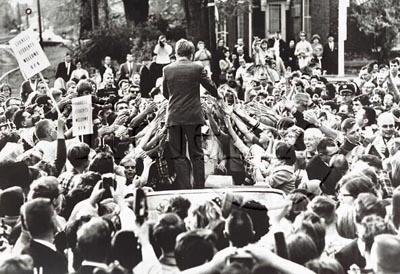 Senator Robert Kennedy at a rally in Sioux City, Iowa, 1966<br/>