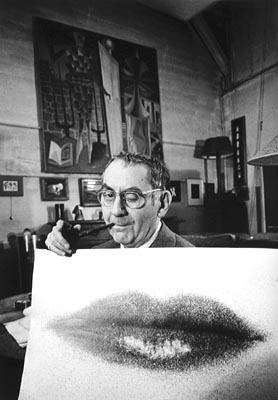 "Man Ray Holding Up ""Lips"" Print<br/>"