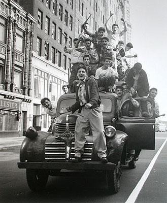 Brooklyn Dodger fans celebrating 1955 World Series victory, Flatbush Avenue, Brooklyn Gelatin Silver print