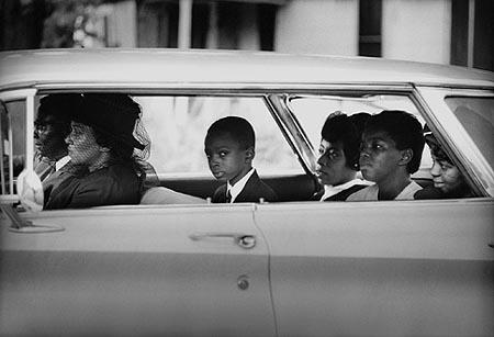 The Chaney family as they depart for the burial of James Chaney, Meridian, Mississippi, August 7, 1964<br/>