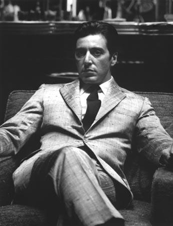 Al Pacino in character as Michael Corleone on the set of<br/>