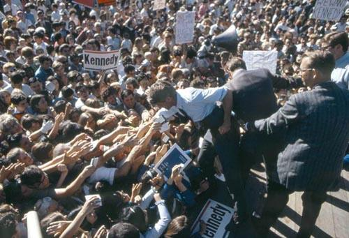 Bobby Kennedy with crowd during the 1968 Presidential race<br/>