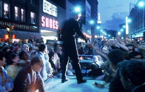 Bobby Kennedy campaigns  into the night, 1968<br/>