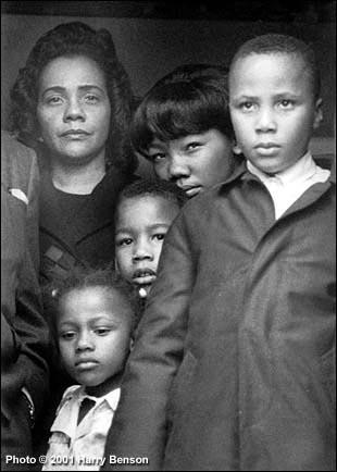 Coretta Scott King with her children after escorting Martin Luther King Jr's body back to Atlanta, 1968 Gelatin Silver print